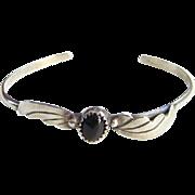 Vintage Navajo Black Onyx Sterling Silver Cuff Bracelet Small Size Hallmarked LL Linnie Linken