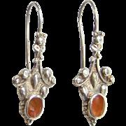 Vintage Sterling Silver and Carnelian Drop Dangle Pierced Earrings Marked 925