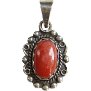 Vintage Native American Navajo Red Coral Necklace Pendant Marked Sterling