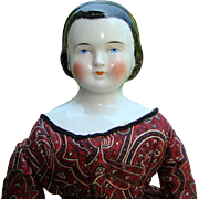 Antique Alice Hairdo China Head Doll with Snood Diadem Brushstrokes First Prize 21 Inch Pre Civil War