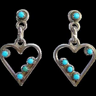 Native American Snake Eye Turquoise Heart Shape Pierced Earrings Sterling Silver