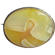 Victorian Gold Filled Oval Agate Brooch Pin C Clasp Tube Hinge