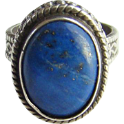 Vintage Blue Lapis Lazuli Gemstone Ring 925 Sterling Silver Size 5.5