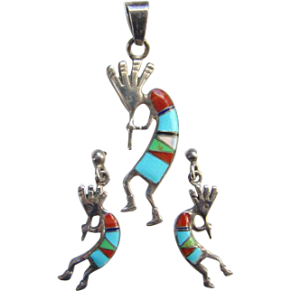 Zuni Kokopelli Turquoise Coral Gaspeite MoP Flute Player Pendant Pierced Earrings Set Signed WR