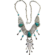 Vintage Chrysocolla Gemstone Art Deco Style Necklace with Dangles Silvertone
