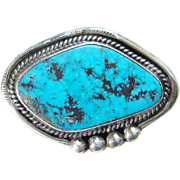 Vintage Navajo Morenci Turquoise Brooch Pendant Beautiful Stone Native American