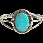 Vintage Southwestern 925 RB Running Bear Turquoise Cuff Bracelet Sterling Silver Navajo