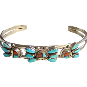 Vintage Zuni Sun Face Turquoise Petit Point Cuff Bracelet Sterling Silver Signed Zunie Sterling Silver Native American