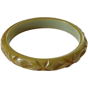 Vintage Deeply Carved Olive Green Bakelite Bangle Bracelet Tested Bakelite Jewelry Art Deco