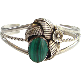 Vintage Native American Green Malachite Cuff Bracelet Sterling Silver Signed W