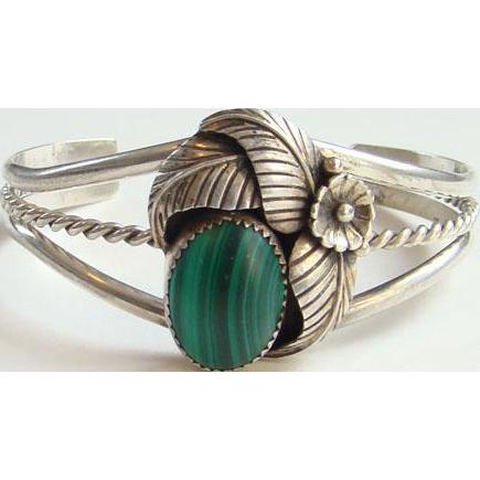 Vintage Native American Green Malachite Cuff Bracelet Sterling Silver Signed W