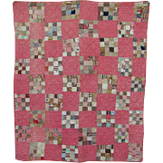 Antique Crib Quilt 16 Patch C1860-1880 Pink Brown Calico Fabric Handstitched