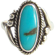 Vintage Bell Trading Post Navajo Turquoise Ring Size 5.5 Sterling Silver Native American
