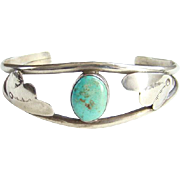 Vintage Navajo Turquoise Cuff Bracelet Seafoam Color Stone Sterling Silver Native American