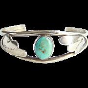 Vintage Navajo Turquoise Cuff Bracelet Seafoam Color Stone Sterling Silver Native American