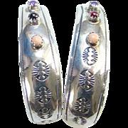 Vintage Southwestern Sterling Pierced Earrings With Amethyst Rhodolite Coral Gemstones Signed TT
