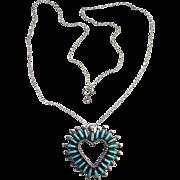 Vintage Zuni Heart Shape Needle Point Turquoise Pendant Necklace Signed RS