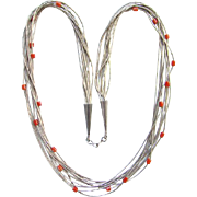 Vintage Native American Liquid Silver Coral Bead Multistrand Necklace Southwestern