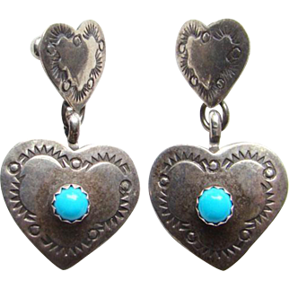Vintage Southwestern 925 Sterling Silver and Turquoise Heart Shape Pierced Earrings