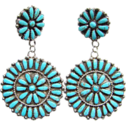 Vintage Huge Zuni Turquoise Cluster Earrings Petit Point Rosette Sterling Silver Signed VB