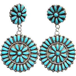 Vintage Huge Zuni Turquoise Cluster Earrings Petit Point Rosette Sterling Silver Signed VB