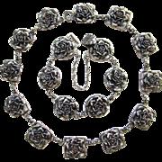 Peruzzi Boston Sterling Silver Rose Bracelet and Necklace Set Hallmarked Vintage