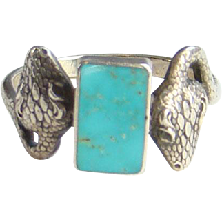 Vintage Southwestern Style Turquoise Snake Ring Size 10 in Sterling Silver