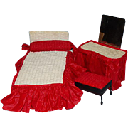 Rare Cissette Doll Furniture Set by Watko Bed Vanity Red and White C1957