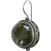 ONE Great Old Labradorite and 925 Sterling Silver Pierced Earring Hallmarked