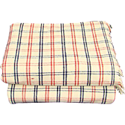 Pair Antique Handwoven Windowpane Check Homespun Blankets Red White Blue 1800s