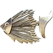 Taxco Mexico 925 Sterling Silver Modernist Stylized Angel Fish Pin Brooch