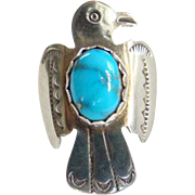 Vintage Native American Morenci Turquoise Thunderbird Ring Signed RS Sterling Size 9