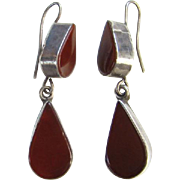 Vintage Carnelian 925 Sterling Silver Pierced Dangle Earrings Signed 925 EY