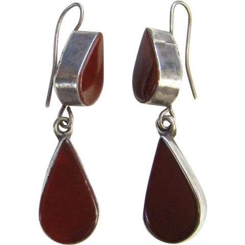Vintage Carnelian 925 Sterling Silver Pierced Dangle Earrings Signed 925 EY