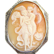 Edwardian C1890-1920 Psyche and Eros Carved Shell Cameo Brooch Pin Set in Sterling Silver
