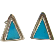 Vintage Turquoise and Sterling Silver Triangle Shape Pierced Earrings Marked 925