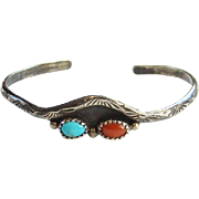 Vintage Turquoise Coral Sterling Cuff Bracelet Small Size Native American