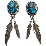 Vintage Nakai Sterling Silver Abalone Puau Shell Pierced Earrings Feather Dangles Signed
