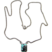 Vintage Turquoise and Sterling Silver Pendant Necklace 16.5 Inch