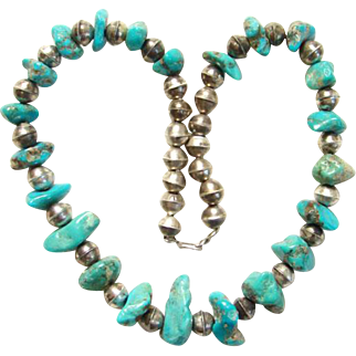 Vintage Southwestern Sterling Silver Bead and Turquoise Nugget Choker Size Necklace