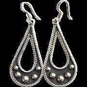 Taxco Mexico 925 Sterling Silver Dangle Pierced Earrings Signed TD-64