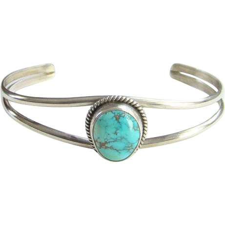 Vintage Navajo Turquoise Cuff Bracelet Signed Cortez H/P.Y. Sterling Silver Native American
