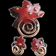 Matisse Renoir Designer Copper Enamel Red Leaf and Clip Earring Set Signed