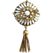 Original By Robert White Rhinestone Navette and Faux Pearl Pendant Pin Brooch with Gilt Setting Tassel Signed