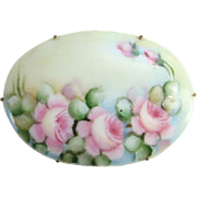 Old Large Oval Porcelain Brooch Beautiful Hand Painted Pink Cabbage Roses C Clasp