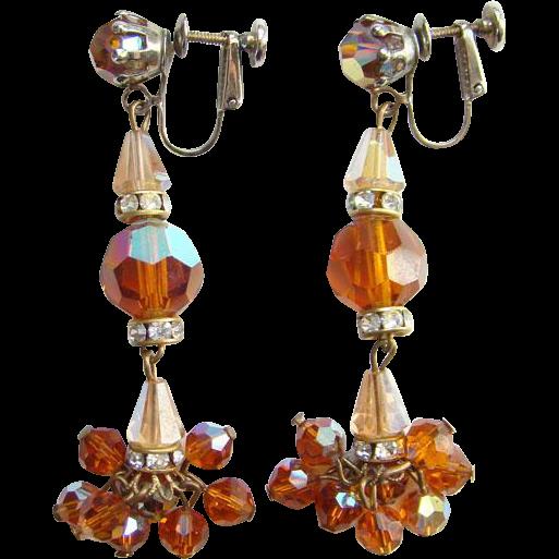 Vintage Faceted Amber Rhinestone Bead Long Dangle Clip Earrings Hinged Screwback
