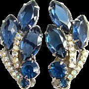 Juliana D and E Deep Sapphire Blue Rhinestone Climber Clip Earrings Aurora Borealis Silvertone Setting Verified