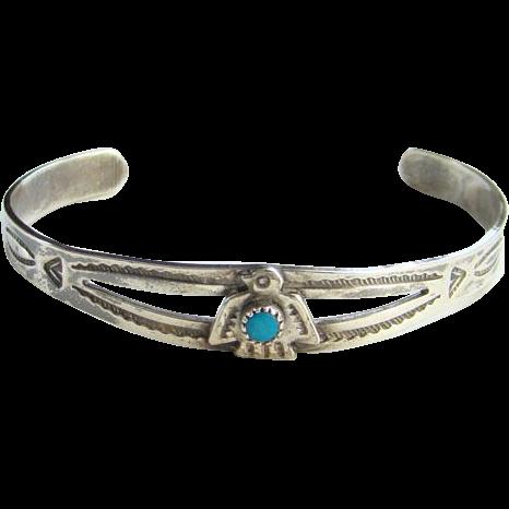 Vintage Sterling Thunderbird Turquoise Cuff Bracelet CHILD SIZE Fred Harvey Era