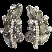 Juliana Hexagon Black Diamond Clear Rhinestone Clip Climber Earrings Verified DeLizza Elster