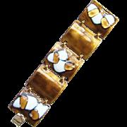 Kay Denning Copper Enamel Link Bracelet C1960s Mid Century Designer Signed